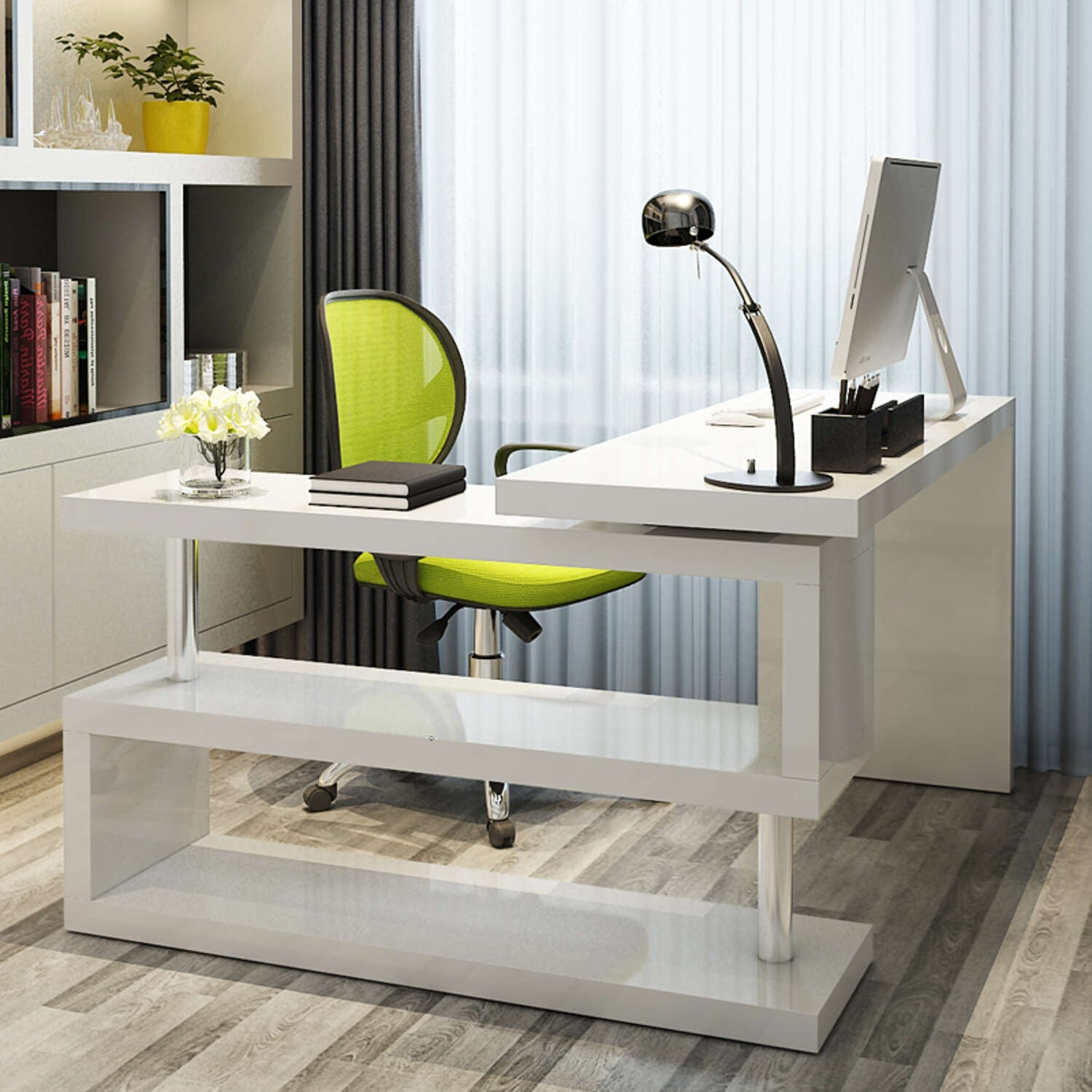 L-Shaped White Gloss Computer Desk