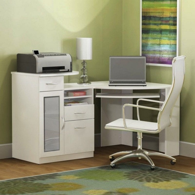 White Computer Desk Corner Unit
