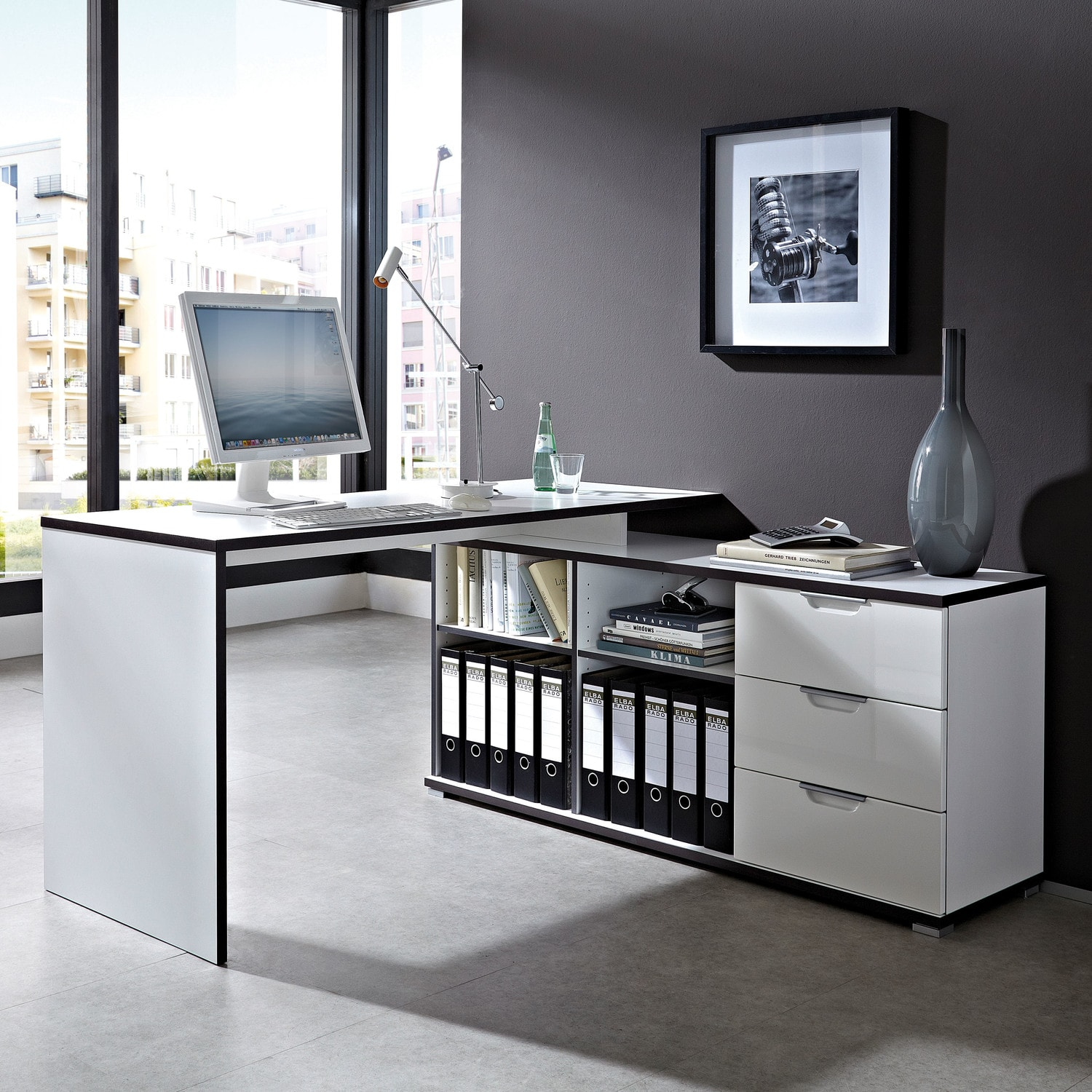 White Corner Computer Desk For Office