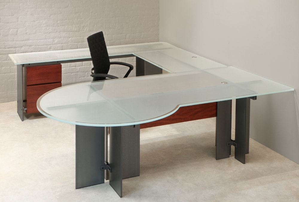 Glass Modern U Shaped Desk